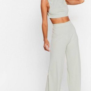 Side Show Crop Top and Wide-Leg Pants Lounge Set